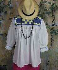 Blue Lime Green & White Hand Embroidered Blouse Mayan Chiapas Mexico Hippie Boho