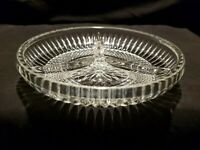 """Vtg 5 1/2"""" Italian Cut Glass Round Divided Dish Relish Nuts Or Candy"""