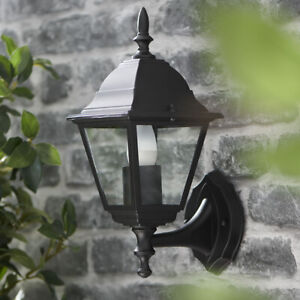 CGC Black Traditional Outdoor Coach Lantern Lamp Wall Vintage Garden Light UK