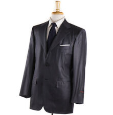 NWT $3995 D'AVENZA Shiny Gray Stripe Lustrous Wool Suit 38 R Classic-Fit