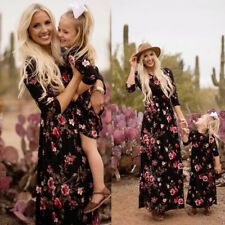 Mother and Daughter Floral Long Dress Matching Women Girls  Beach Family Clothes