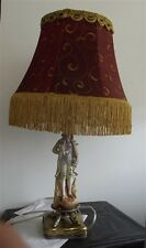 Porcelain & Brass Victorian Man Designed Table Lamp & Silk Shade w/ Tassels