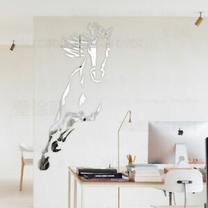 Galloping Horse 3D Acrylic Mirror Wall Sticker Decal Home Decoration