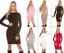 Sexy KouCa Ripp Strickkleid mit Knöpfen Minikleid Kleid Strick Dress