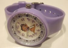 HORLOGE FEMME BETTY BOOP,BB107,FAUX DIAMANT,MONTRE BOOP,SANGLE CAOUTCHOUC,LILAS