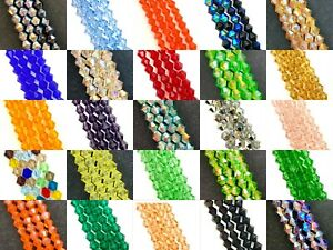 6mm glass crystal faceted bicone beads - approx 50 beads, 12 inch strand