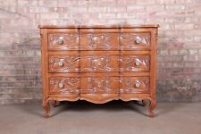 French Provincial Louis XV Carved Oak Three-Drawer Commode or Bachelor Chest