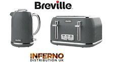 BREVILLE Flow Collection Jug Kettle and 4 Slice Matching Toaster Set Slate Grey
