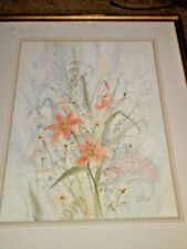 ART WATERCOLOR LILY FLOWER PAINTING original ARTIST SIGNED SANDY ASKEY ADAMS