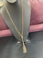 Vintage Signed Bohemian Gold Silver Copper Knotted Tassel Multi Chain Necklace