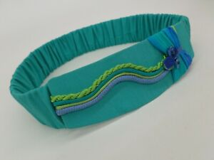 Vintage 1980s Stretch Belt 30 Waist Button Teal Green