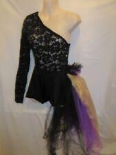 Custom Black Lace Purple Gold One Shoulder Dance Costume Small Adult SA