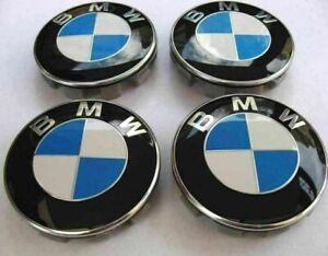 4 x 56mm BMW Alloy Wheel Centre Caps Blue White 1 3 5 SERIES G SERIES