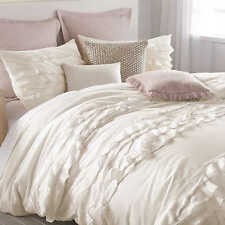 DKNY Flirt with Ruffles Twin Duvet Cover in Off-White (Cover Only)