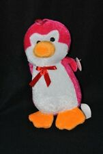 Peluche doudou pingouin FOREST DISTRIBUTION rose blanc orange 20 cm 100% NEUF