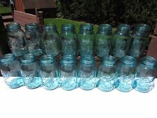 Lot of VTG Blue Ball Perfect Mason Jars #'s 0-15 including # 13 QT Canning Jars