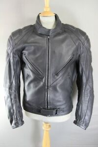 BELSTAFF BLACK LEATHER BIKER JACKET WITH KNOX CE ARMOUR & THERMAL LINING 44 INCH
