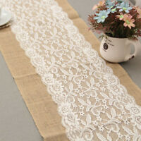 Burlap Hessian Lace Table Runner Jute Rustic Country Wedding Party Decor one