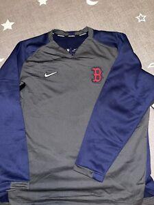 Nike MLB Boston Red Sox Player Therma Crew Fleece Sweathsirt Charcoal Navy XXL
