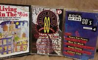 ROCK OF THE 80S+LIVING IN THE 80S+GREATEST ROCK HITS THE 80S 3CASSETTE TAPE MINT