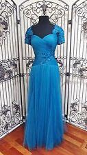 G502   ALYCE JEAN DE LYS 29551  SZ 8 TEAL MOTHER OF BRIDE FORMAL PROM GOWN DRESS
