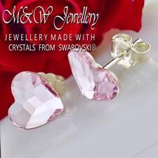 925 Pernos De Pendientes De Plata Cristales de Swarovski ® Corazón Rosaline F 10 mm