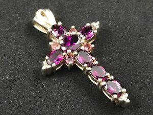 925 sterling silver gemstone cross or crucifix, poss pink garnets