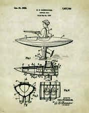 Duck Hunting Boat Patent Poster Art Print Antique Decoys Goose Calls Dog PAT137