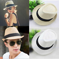 Women Men s Summer Sun Straw Packable Travel Hat Fedora Trilby Panama Brim  Cap 5e54fbe3ae8d