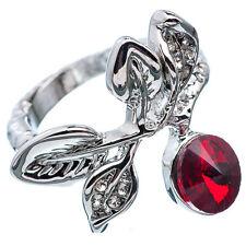 3.08 Ct Round Cut Red Garnet CZ 18K Rose White Plated Wedding Ring Size 6.75