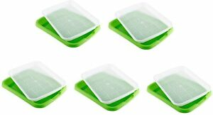 5Pack Plastic Seed Sprouter Tray BPA Free Nursery Tray  for Garden Home Office