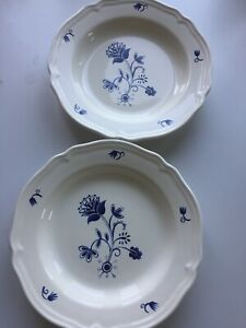 IKEA Piatto Fondo 2 Piatti Fondi  Porcellana Ceramica fiore blu plate