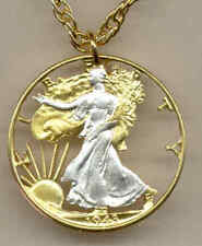 Walking Liberty Half Dollar Cut US Coin Necklace Gold on Silver Pendant w/ Chain