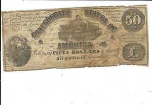 GENUINE 1861 CSA T14 $50.00 NOTE
