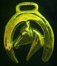 HORSE HEAD NARROW MUZZLE POINTED COLLAR HORSESHOE Lacquered Harness Horse Brass
