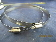 Lot of (2) 7 ¾� to 8 5/8� Stainless Steel Flex Worm Hose Duct Clamps Hydroponics