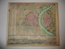 Altkol. Kupferstich Dresden 1740 Matthäus Seutter Stadtplan mit Panoramaansicht