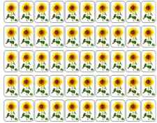 """50 Sunflower Envelope Seals / Labels / Stickers, 1"""" by 1.5"""""""
