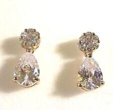 SPD White cz diamante pear drop & stud cluster 18k gold filled stud BOXD Plum UK