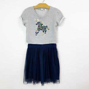 Gap Kids Girls Short Sleeve Unicorn Sequin Tulle Dress Gray Blue Size Large 10