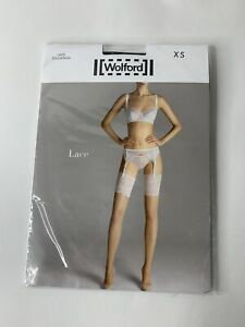 Wolford Lace Stockings Thigh Highs XS Black Lace NWT