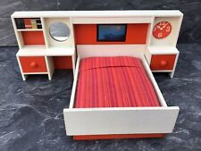 Vintage Lundby Dolls House 1970s White Wood Headboard And Double Bed 16th Scale