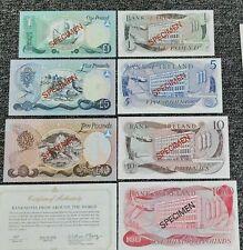 More details for specimen bank of ireland 1,5,10,100 pounds notes set crisp unc gems all epq!