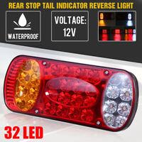 12V 32 LED Feux Arrière Stop Clignotant Turn Signal Remorque Camion Fourgon