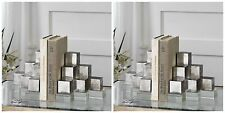 TWO PAIR URBAN MODERN AGED TARNISHED SILVER GEOMETRIC BOOKENDS CRYSTAL BASE