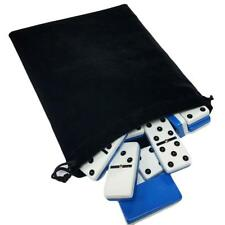 Domino Double Six 6 Two Tone Blue White Tournament Pro Size Spinners Velvet Bag