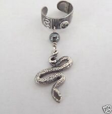 Handcrafted Sterling Silver 925 Ear Cuff  Dangle Hematite Bead Snake skaisAU14