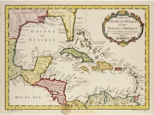 Gulf of Mexico Old map Golphe Du Mexique Bellin map 1754   Caribbean Sea Maps