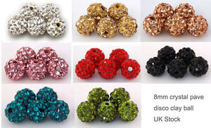 5/10 x 8mm Crystal Paved Clay Disco Ball for Shamballa Bracelets Beads UK