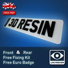 Pair of GLOSS BLACK Domed Resin Raised Gel UK Font Car Number Licence Plates 20